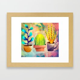 Cactus Friends Framed Art Print