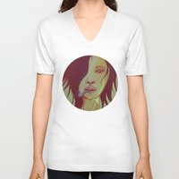 smoking V-neck T-shirts featuring Smoking by IOSQ