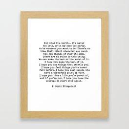 Life quote, For what it's worth, F. Scott Fitzgerald Quote Gerahmter Kunstdruck
