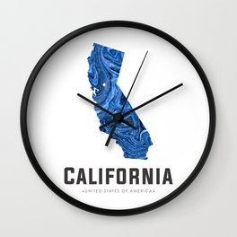 California - State Map Art - Abstract Map - Blue Wall Clock