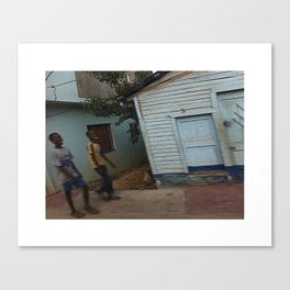 Kids smiling in Dominican street Canvas Print