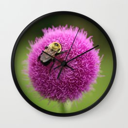 Bumble Bee on Purple Thistle Wall Clock