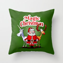 Magic Christmas with a unicorn Throw Pillow