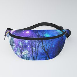 black trees purple blue space Fanny Pack