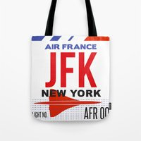 jfk Tote Bags featuring JFK TAG  by Studio Tesouro