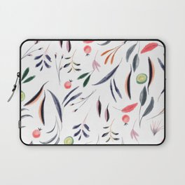 Watercolor pink coral gray green berries foliage Laptop Sleeve