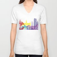 brussels V-neck T-shirts featuring Brussels skyline pop by Paulrommer