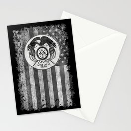 Faith Hope Liberty & Freedom Eagle on US flag Stationery Cards