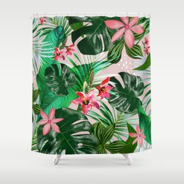Tropical palm leaf with red flowers Shower Curtain