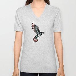 Red and Green Haida Spirit Flying Bird Unisex V-Neck