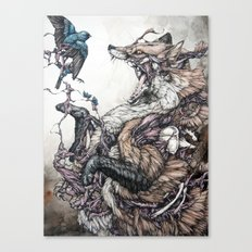 Red Fox and Indigo Bunting Canvas Print