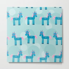 pattern with funny cute unicorn horse on a blue background Metal Print