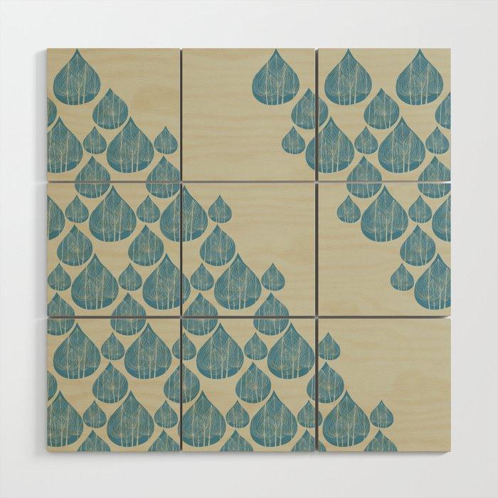Blue drops Wood Wall Art