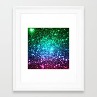 glitter Framed Art Prints featuring glitter Cool Tone Ombre by 2sweet4words Designs