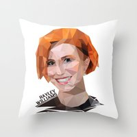hayley williams Throw Pillows featuring Low Poly Design Hayley Williams by kertasputih
