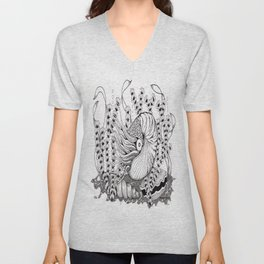 Zentangle Nautilus in the Ocean Illustration Unisex V-Neck