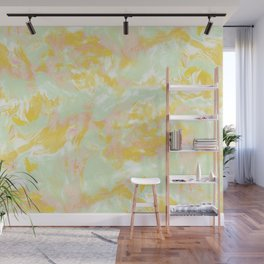 Marble Mist Yellow Green Pink Wall Mural