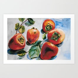 Watercolor Persimmons With Leaves Art Print