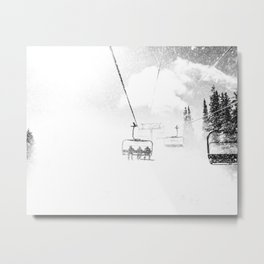Snow Blasted // Black and White Ride on the Skilift in Blizzard Wind Metal Print