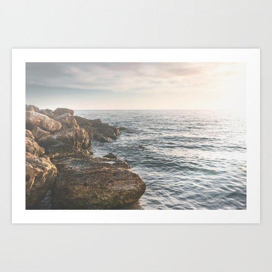 Ocean (Rocks Within the Misty Blue) Art Print