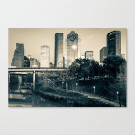 Houston Texas Skyline Over The Buffalo Bayou In Sepia Monochrome Canvas Print