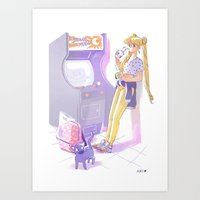 sailormoon Art Prints featuring 90s Sailormoon by Collectif PinUp!
