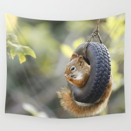 Wheeeee Goes The Squirrel Wall Tapestry