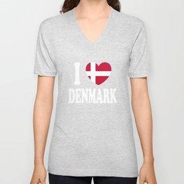 I Love Denmark Unisex V-Neck