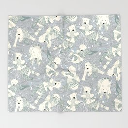 arctic polar bears silver Throw Blanket