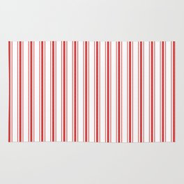 Mattress Ticking Wide Striped Pattern in Red and White Rug