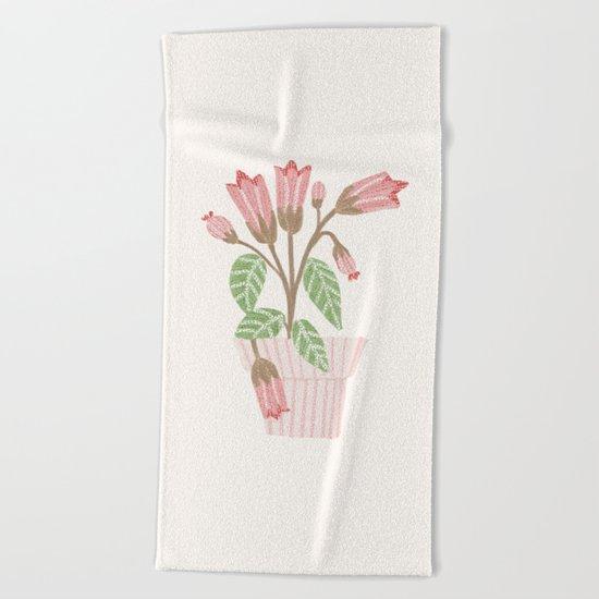 Flower In a Pot Beach Towel