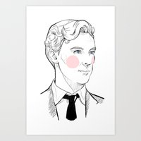 gentleman Art Prints featuring Gentleman by Sara E. Mayhew