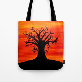 Autumn Tree Silhouette Sunset Acrylic Painting Tote Bag