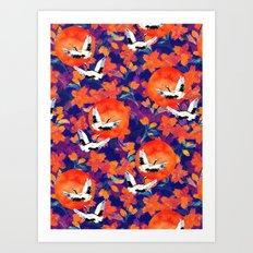 Japanese Garden: Cranes, Sun and Blossoms DK Art Print