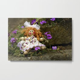 Clothes Peg Doll and Flowers Metal Print