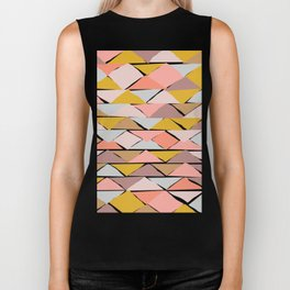 Contemporary Abstract Shape Pattern Biker Tank