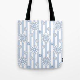 Mod Flowers on Stripes in Pastel Blue and Gray Tote Bag