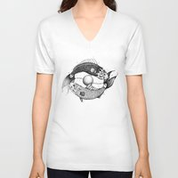 pisces V-neck T-shirts featuring Pisces by PAgata