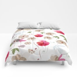 Cute soft spring pattern with flowers Comforters