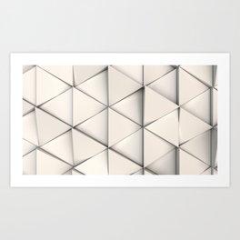 Pattern of white triangle prisms Art Print