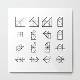 Origami Fish - Step by Step (Black) Metal Print