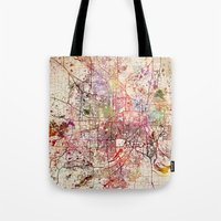 minneapolis Tote Bags featuring Minneapolis by MapMapMaps.Watercolors