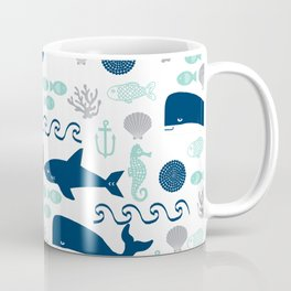 Nautical ocean animals sharks whales seahorses wave pattern sea life Coffee Mug