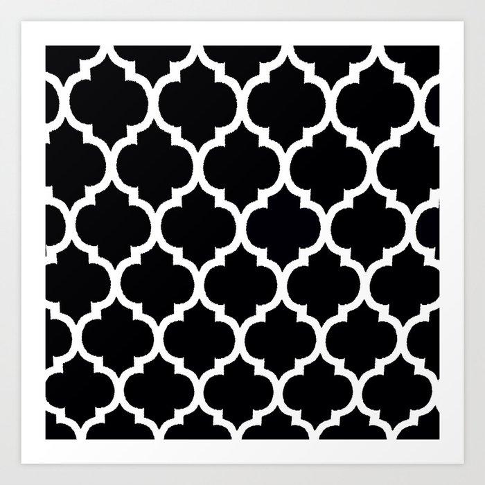 Moroccan Black and White Lattice Moroccan Pattern Art ...