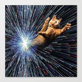 Cat Space vortex in galaxy attack speed of light Canvas Print