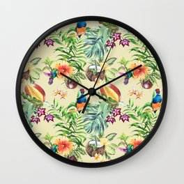 Tropical pattern on a yellow background Wall Clock