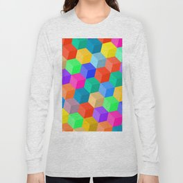 Crayon Colored Perspective Cubes Long Sleeve T-shirt