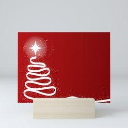 Red Scrible Christmas Tree Mini Art Print