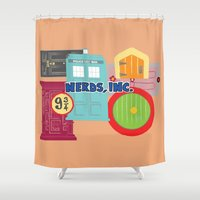 monster inc Shower Curtains featuring Nerds Inc by Lacey Simpson