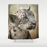 snow leopard Shower Curtains featuring Snow Leopard by Jai Johnson
